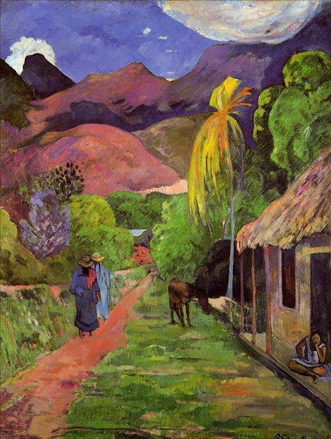 пейзаж Дорога на Таити (горы и хижины) :: Поль Гоген - Paul Gauguin фото