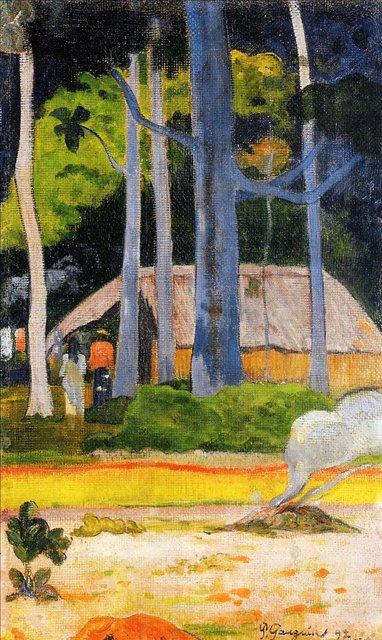 Пейзаж домик под деревьями :: Поль Гоген - Paul Gauguin фото