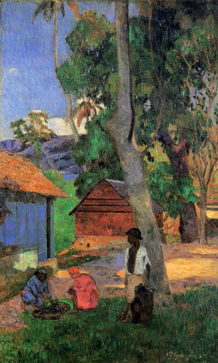 картина  < Возле лачуг > :: Поль Гоген - Гоген Поль ( Paul Gauguin ) фото