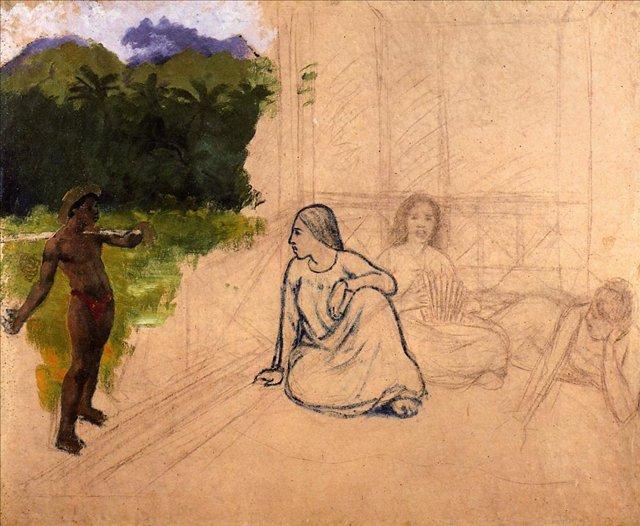 жанровая картина < Таитяне на отдыхе ( незав. )) > :: Поль Гоген - Гоген Поль ( Paul Gauguin ) фото