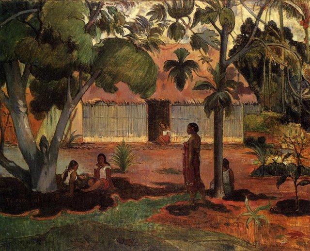 жанровая картина < Te Ra'au Rahi (возле хижины ( большое дерево )) > :: Поль Гоген - Гоген Поль ( Paul Gauguin ) фото