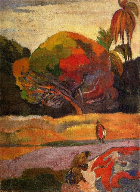 жанровая картина-пейзаж < На берегу > :: Поль Гоген - Гоген Поль ( Paul Gauguin ) фото