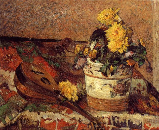 картин натюрморт - цветы < Георгины и Мандолина > :: Поль Гоген - Гоген Поль ( Paul Gauguin ) фото