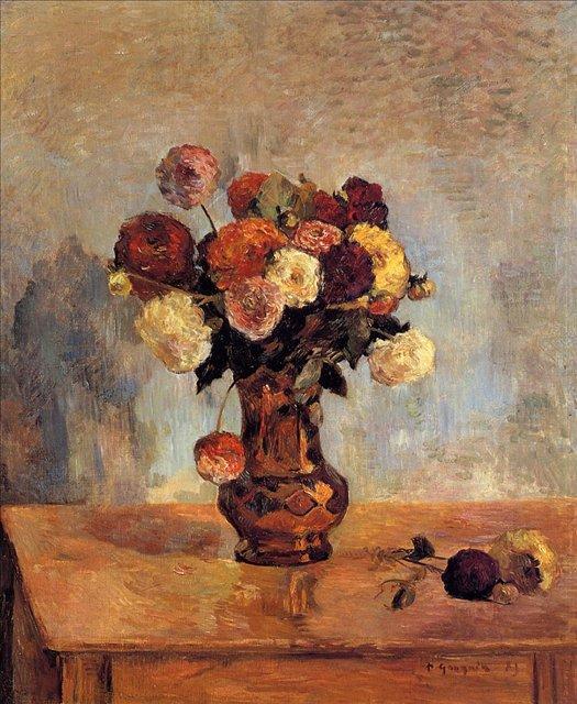 картина натюрморт - цветы < Георгины в медной вазе > :: Поль Гоген - Гоген Поль ( Paul Gauguin ) фото