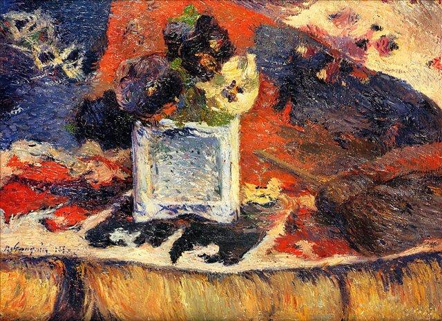 картина натюрморт  < Цветы на Ковре ( Анютины глазки ) > :: Поль Гоген - Paul Gauguin фото