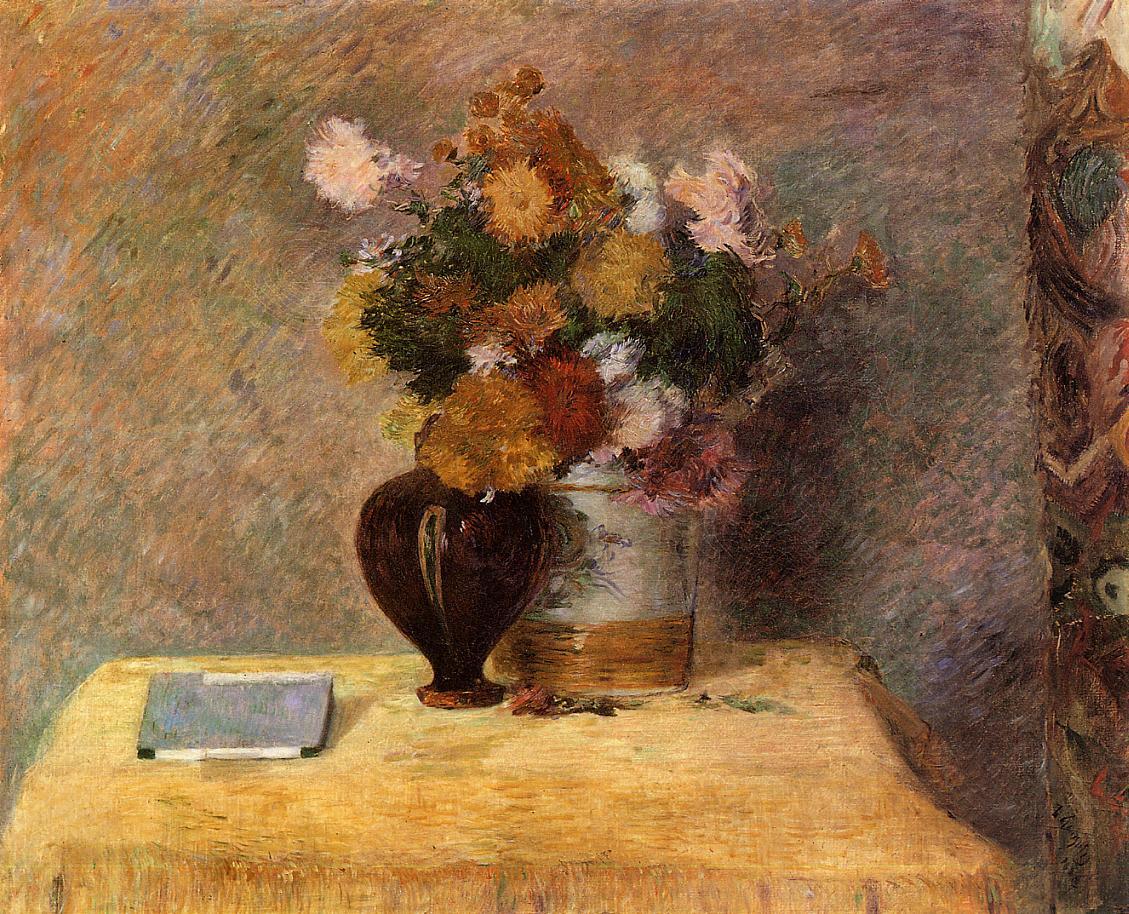 картина натюрморт  < Цветы и японская книга > :: Поль Гоген - Гоген Поль ( Paul Gauguin ) фото