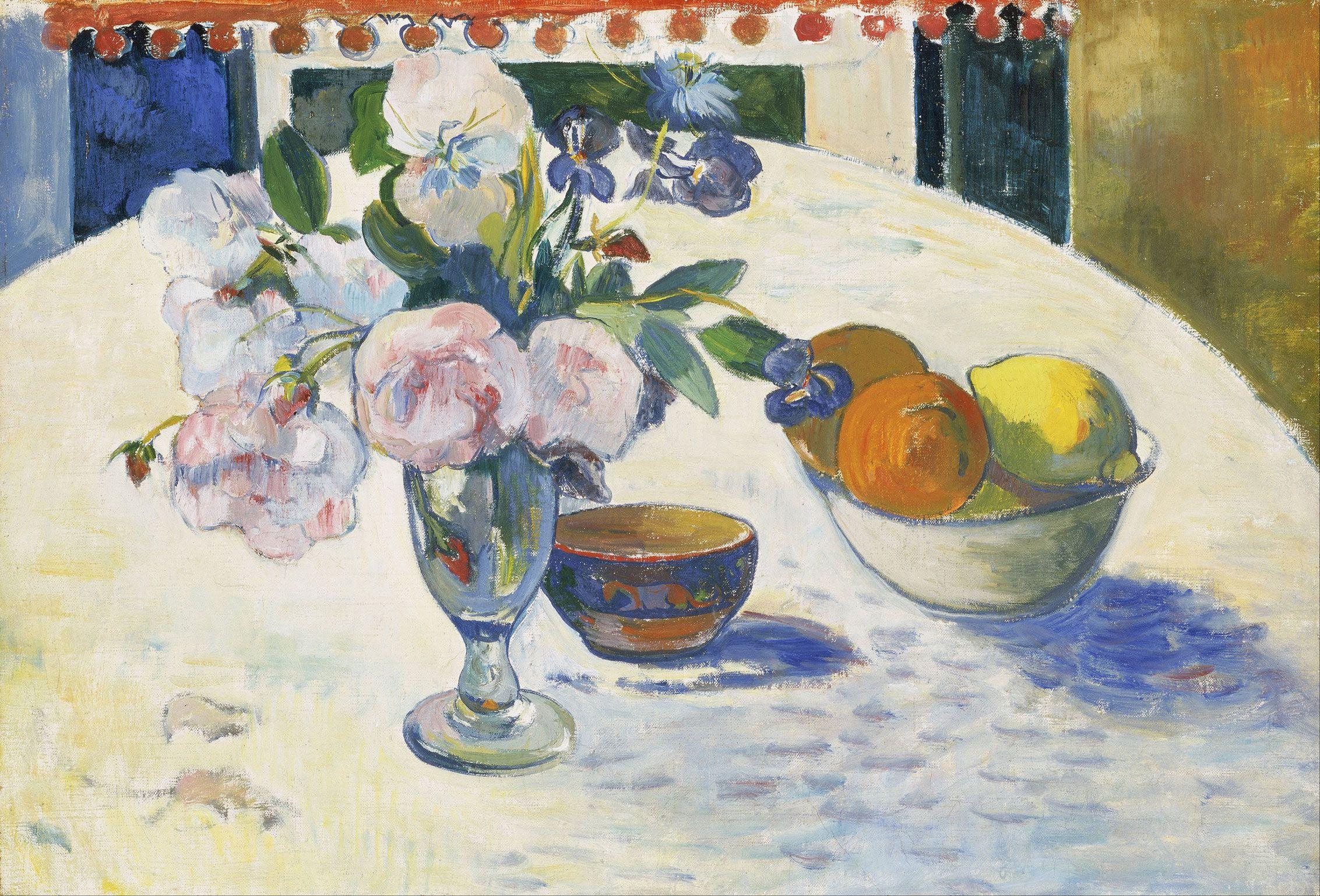 картина натюрморт  < Цветы и корзина с фруктами > :: Поль Гоген - Гоген Поль ( Paul Gauguin ) фото