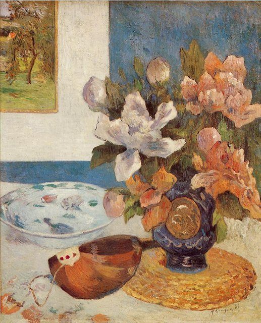 картина цветы < Натюрморт с мандолиной и китайскими пионами > :: Поль Гоген - Paul Gauguin фото