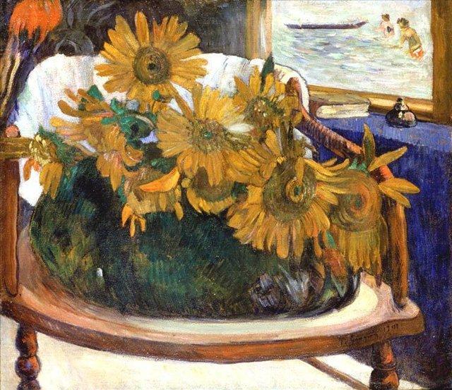 Натюрморт с подсолнухами на кресле :: Поль Гоген - Paul Gauguin фото