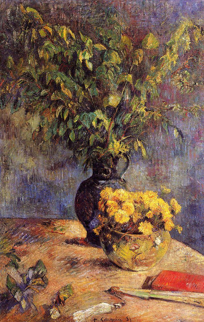 картина цветы < две вазы с цветами и веер > :: Поль Гоген - Гоген Поль ( Paul Gauguin ) фото