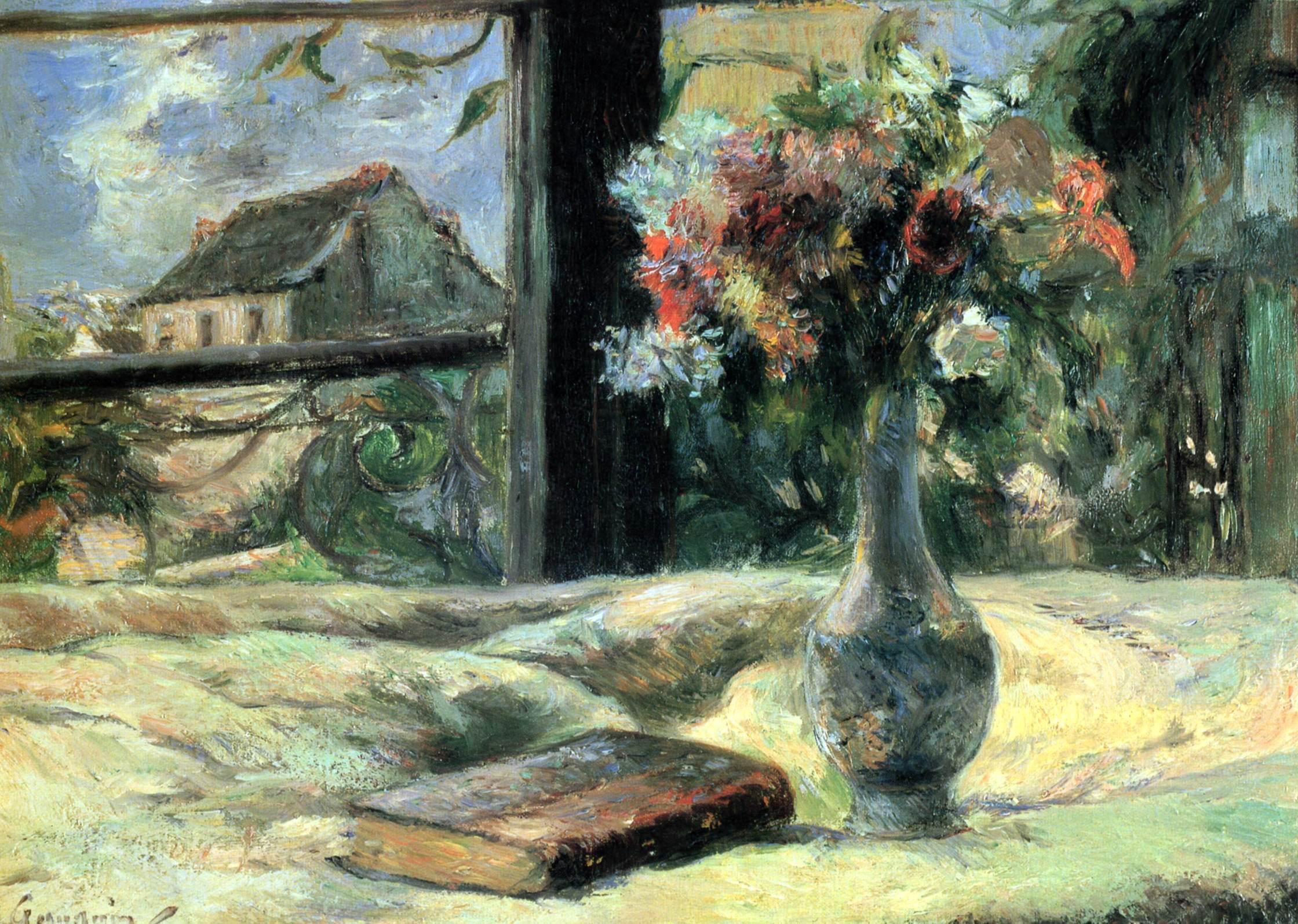 натюрморт  < Ваза с цветами на окне > :: Поль Гоген - Гоген Поль ( Paul Gauguin ) фото