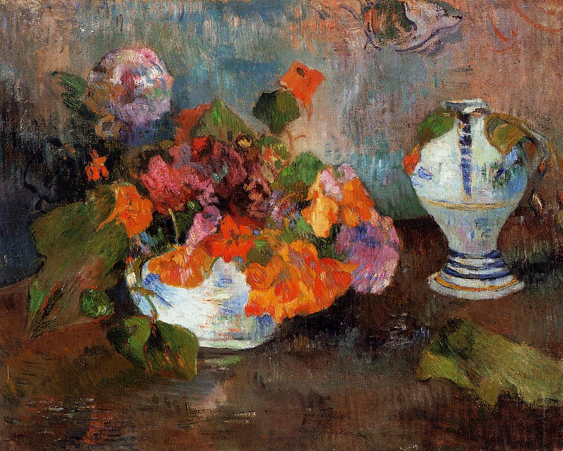 натюрморт цветы  < Ваза с настурциями > :: Поль Гоген - Гоген Поль ( Paul Gauguin ) фото