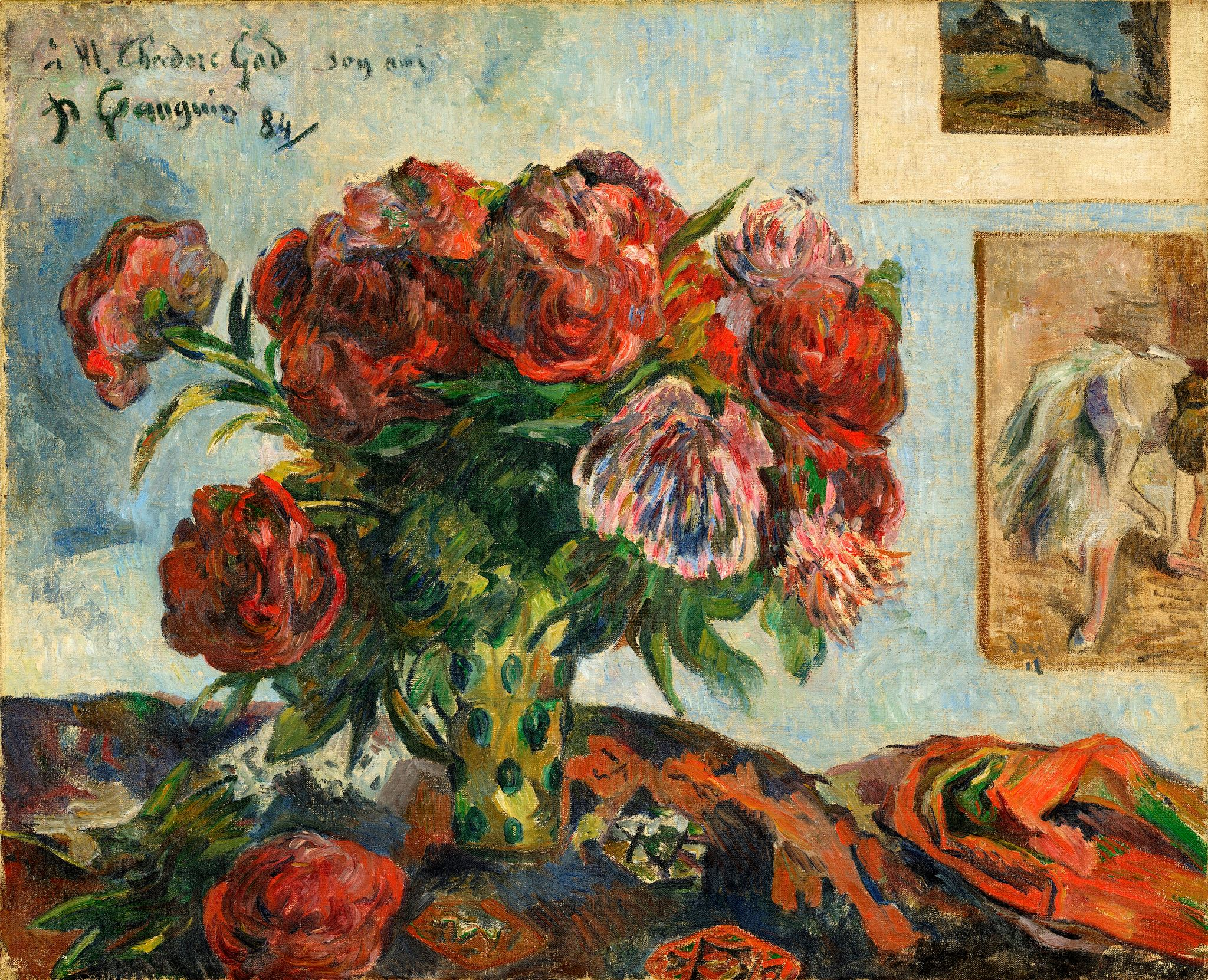 натюрморт цветы  < Ваза с пионами > :: Поль Гоген - Гоген Поль ( Paul Gauguin ) фото