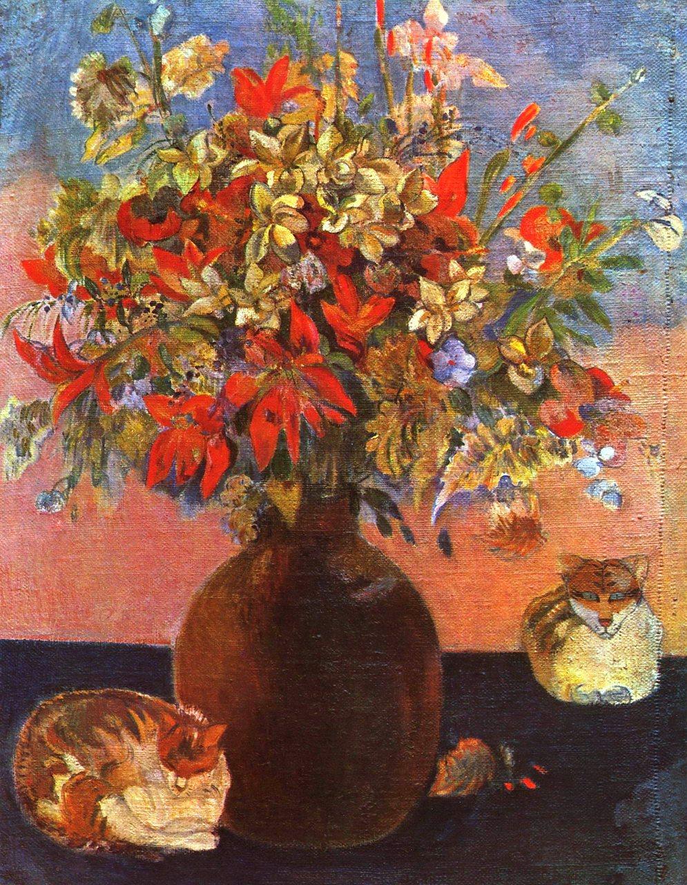 натюрморт Цветы и кошки :: Поль Гоген - Paul Gauguin фото