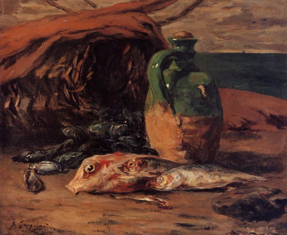 Натюрморт с Кувшином и Красной Кефалью :: Поль Гоген - Гоген Поль ( Paul Gauguin ) фото