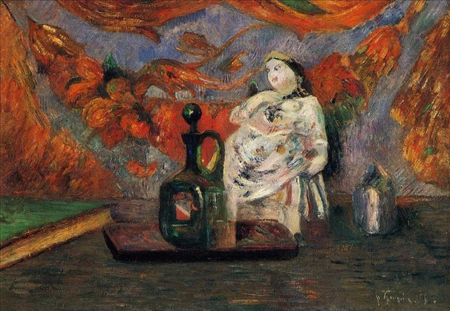картина  < Натюрморт с графином и статуэткой > :: Поль Гоген - Гоген Поль ( Paul Gauguin ) фото
