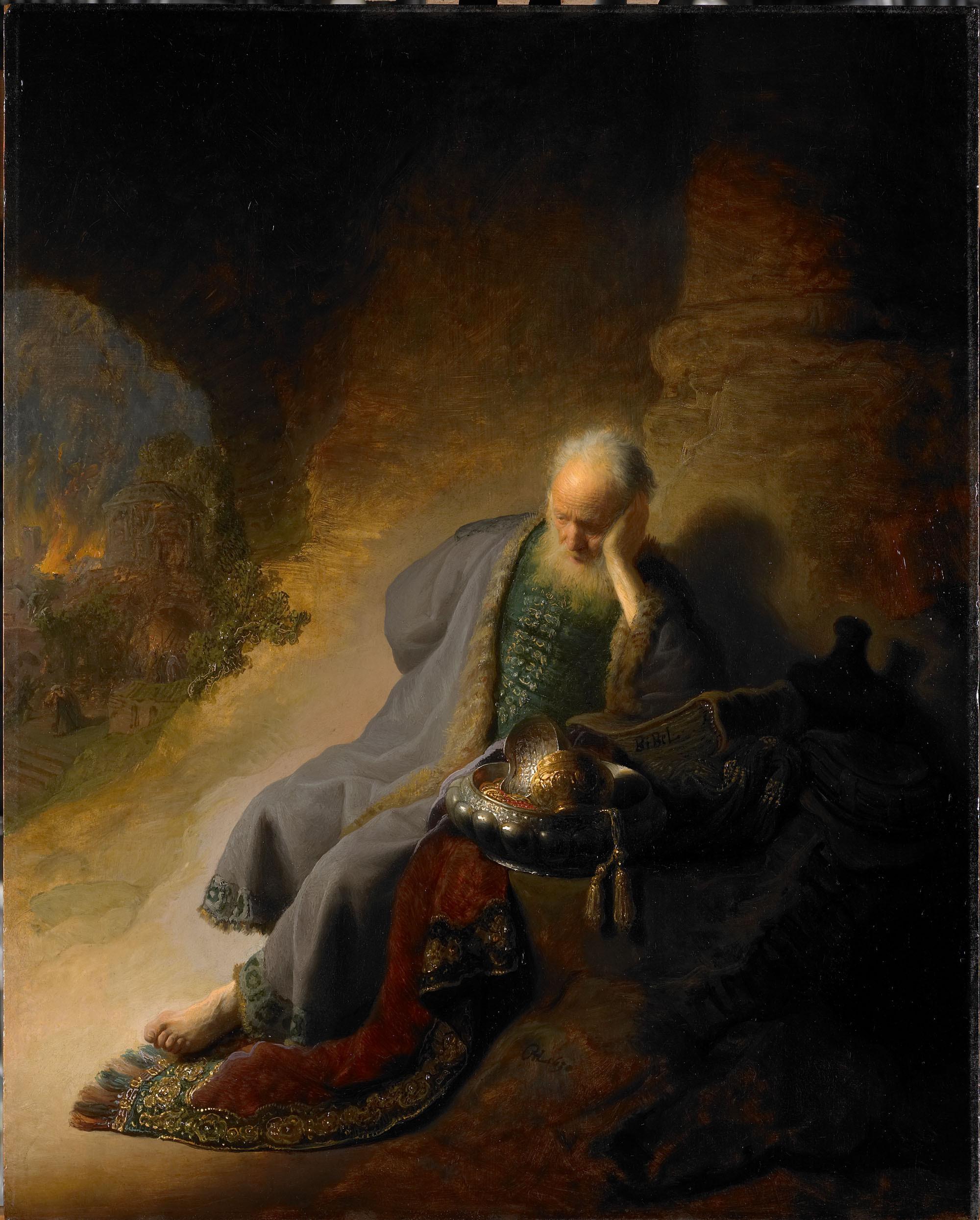 < Иеремия оплакивающий разрушенный Иерусалим > :: Харменс ван Рейн Рембрандт - Rembrandt (Рембрандт) фото