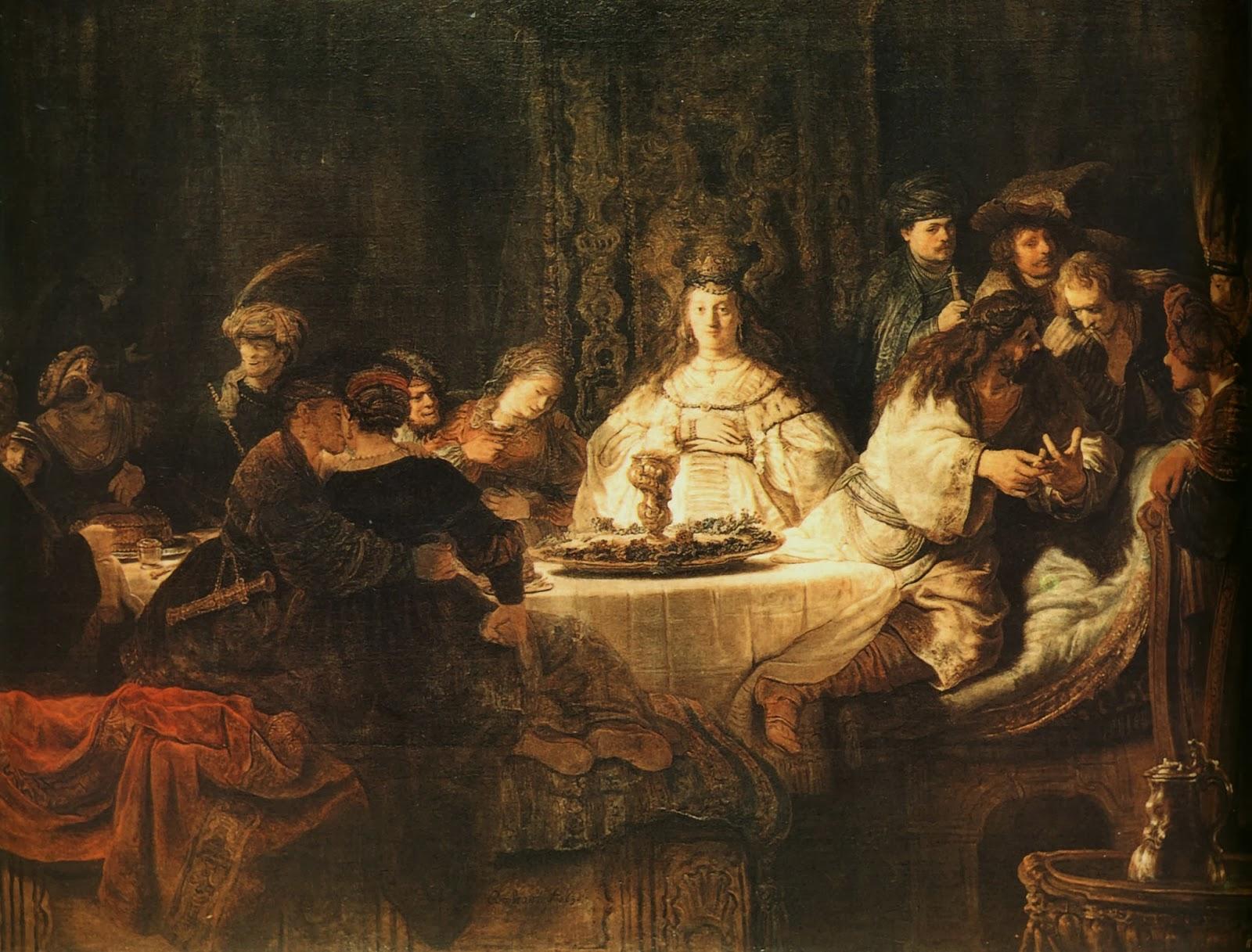 < Самсон, загадывающий загадку за свадебным столом > :: Харменс ван Рейн Рембрандт - Rembrandt (Рембрандт) фото