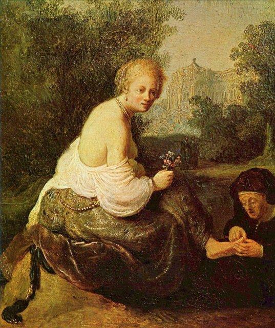 < Молодая женщина, которой старуха удаляет занозу > :: Харменс ван Рейн Рембрандт - Rembrandt (Рембрандт) фото