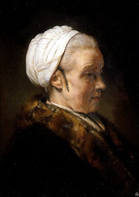 < Штудия света на пожилой женщине в белом головном уборе > :: Харменс ван Рейн Рембрандт - Rembrandt (Рембрандт) фото