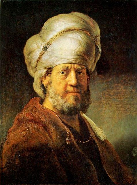 Портрет мужчины в восточной одежде :: Харменс ван Рейн Рембрандт - Мировые шедевры, репродукции картин фото