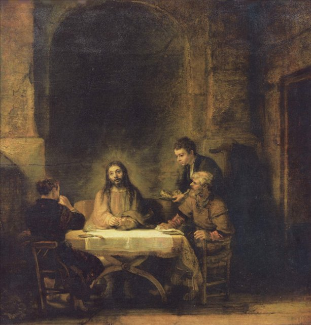 картина < Христос в Эммаусе > :: Харменс ван Рейн Рембрандт - Rembrandt фото