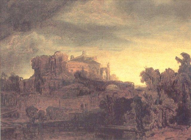 картина < Пейзаж с замком > :: Харменс ван Рейн Рембрандт - Rembrandt (Рембрандт) фото