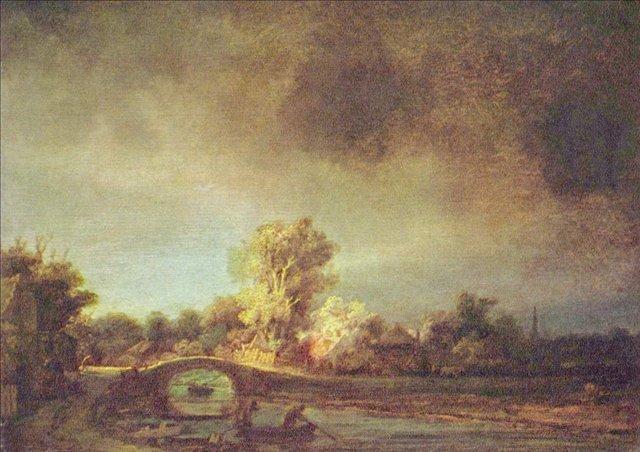 картина < Пейзаж с каменным мостом > :: Харменс ван Рейн Рембрандт - Rembrandt (Рембрандт) фото