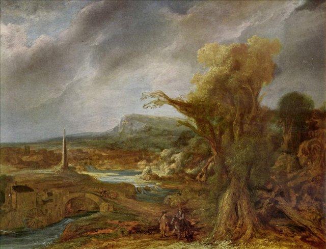 картина < Пейзаж с обелиском > :: Харменс ван Рейн Рембрандт - Rembrandt (Рембрандт) фото
