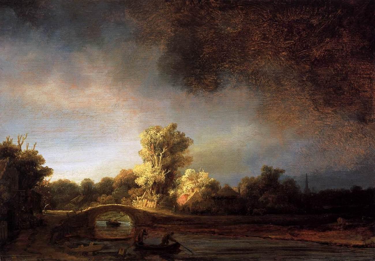 картина < Пейзаж с каменным мостом > :: Рембрандт ван Рейн - Rembrandt фото