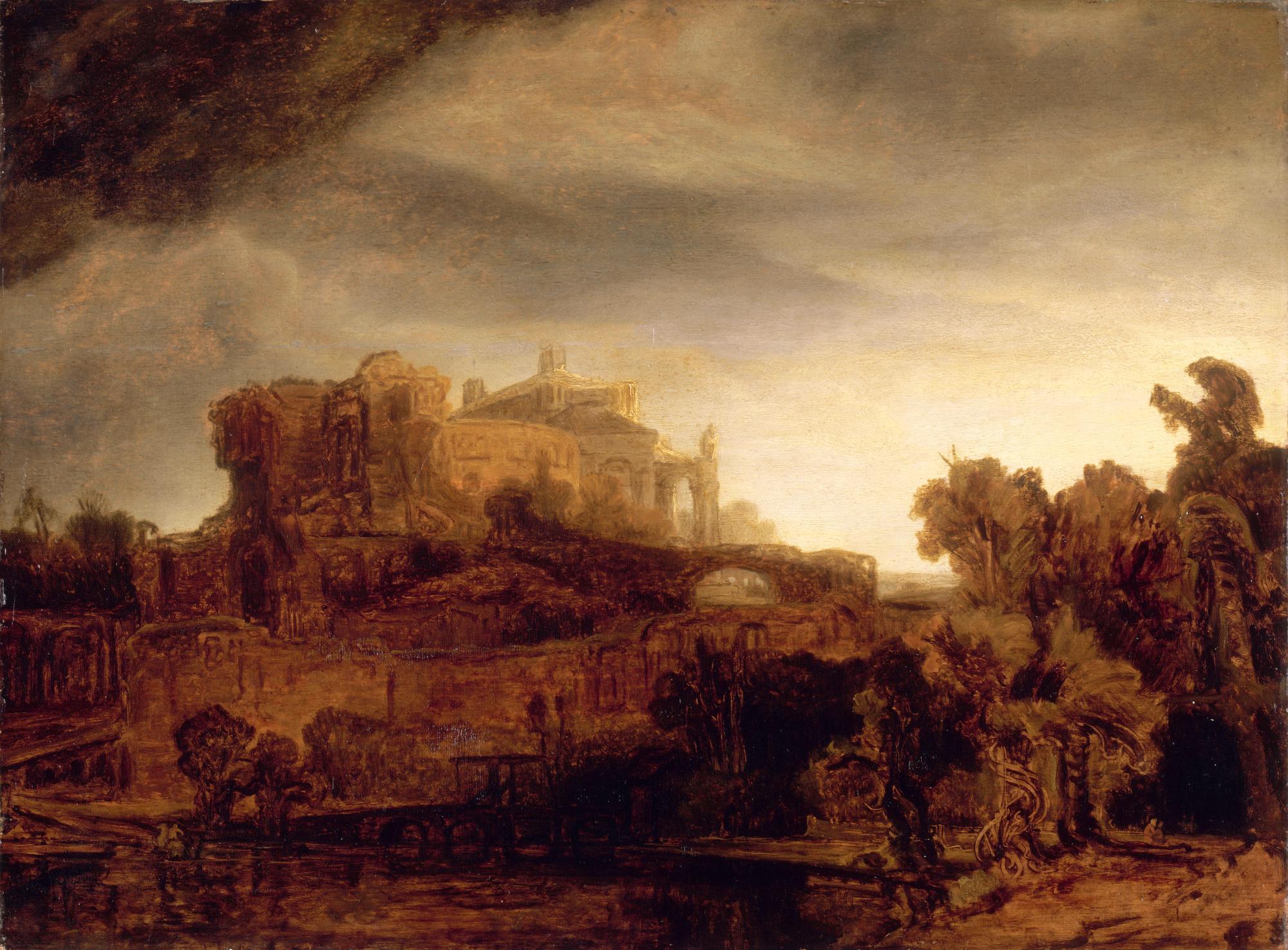 Пейзаж с замком :: Рембрандт ван Рейн - Rembrandt (Рембрандт) фото