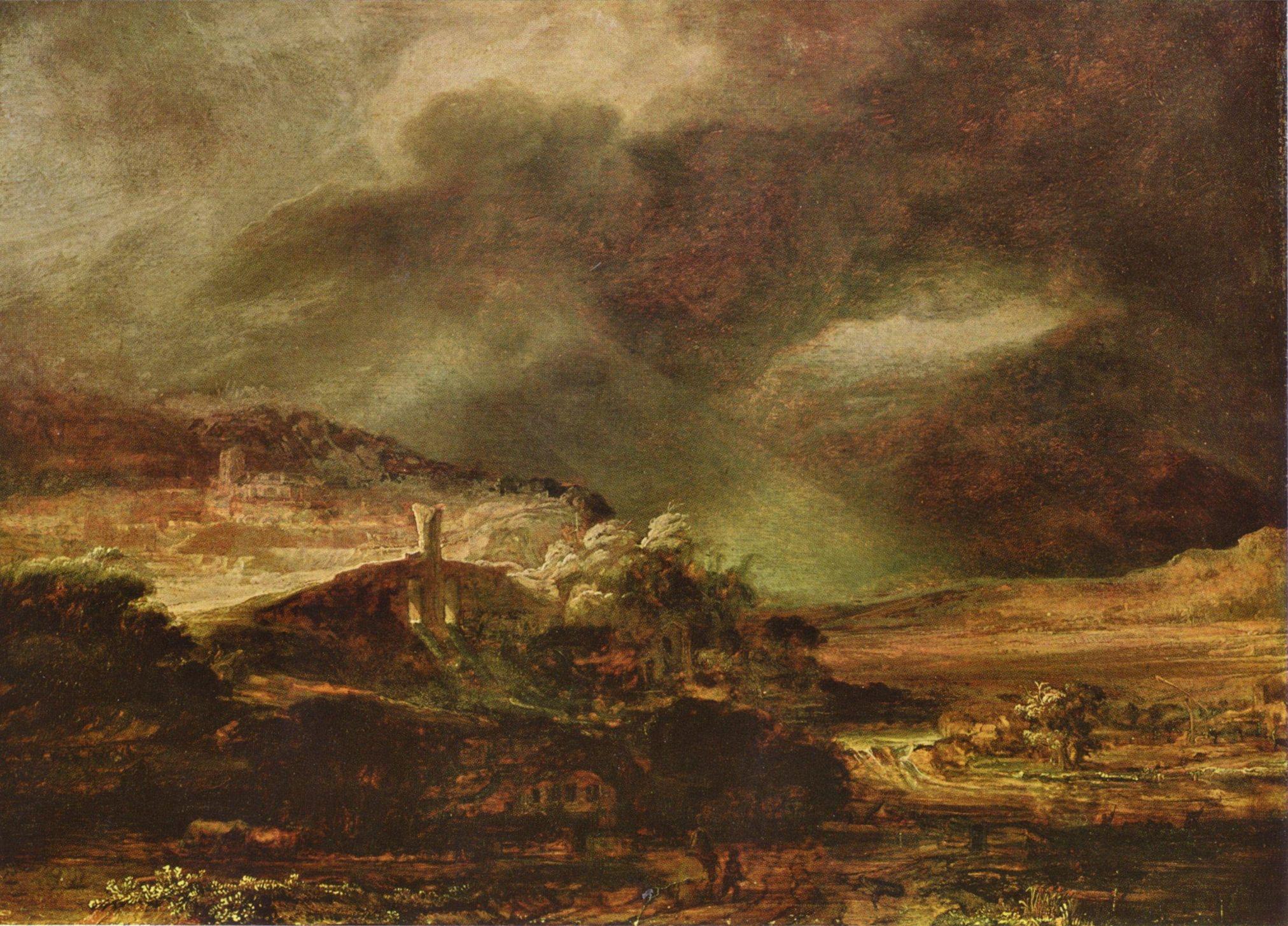 картина Город на холме при надвигающейся грозе :: Харменс ван Рейн Рембрандт - Rembrandt фото