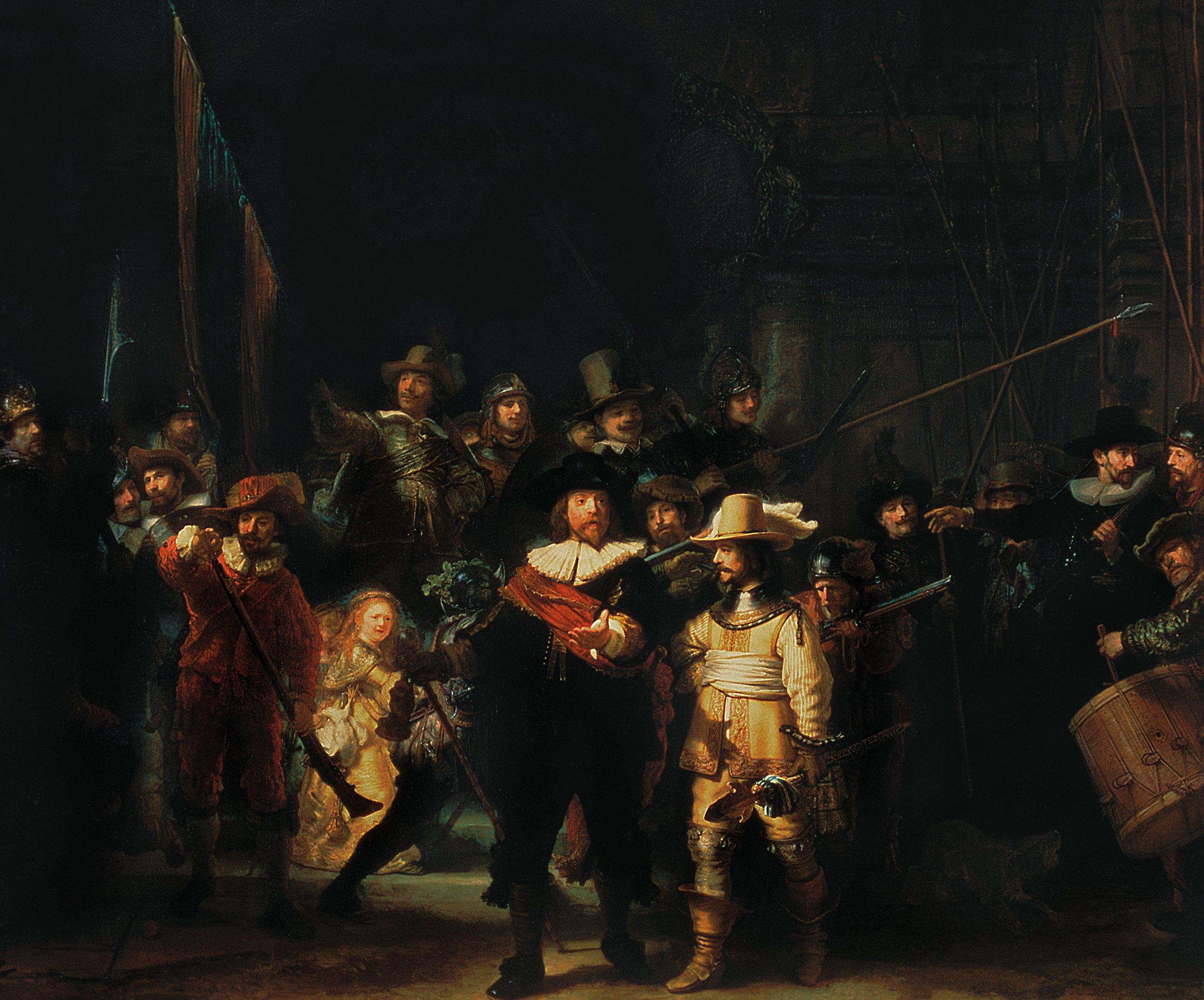 картина групповой портрет < Выступление стрелковой роты капитана Франса Баннинга Кока и лейтенанта Виллема ван Рейтенбурга > :: Харменс ван Рейн Рембрандт - Rembrandt (Рембрандт) фото