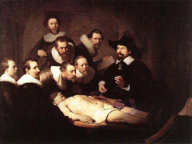 картина групповой портрет <Урок анатомии доктора Тульпа > :: Харменс ван Рейн Рембрандт - Rembrandt (Рембрандт) фото