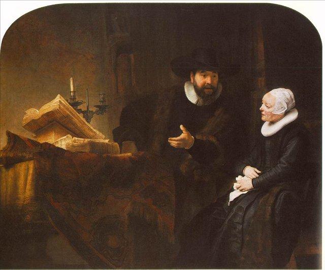 картина групповой портрет < Меннонитский министр Корнелис Клаус Ансло разговаривает со своей женой Аалте > :: Харменс ван Рейн Рембрандт - Rembrandt фото