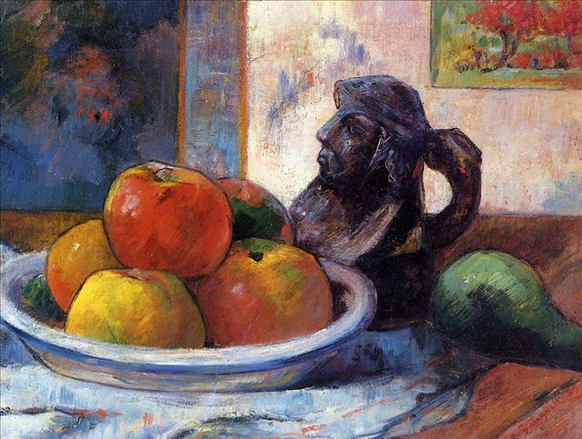 Натюрморт с яблоками, грушей и кувшином :: Гоген Поль - Paul Gauguin фото