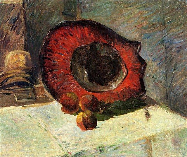 натюрморт  < Красная шляпа и фрукты > :: Поль Гоген, описание картины  - Гоген Поль ( Paul Gauguin ) фото