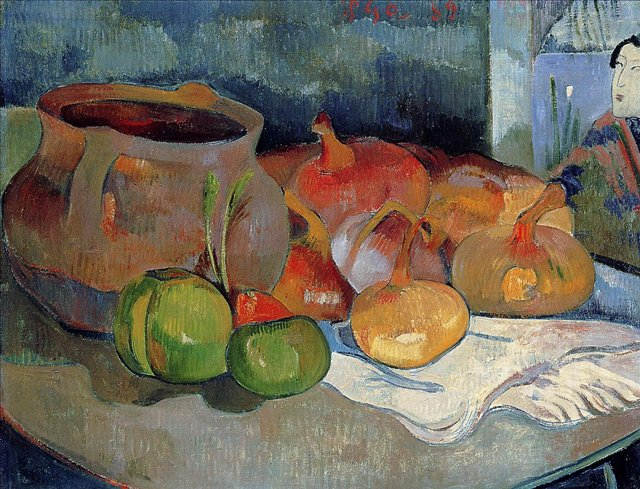 Натюрморт с Луком, Свеклой и японским принтом :: Гоген Поль - Гоген Поль ( Paul Gauguin ) фото