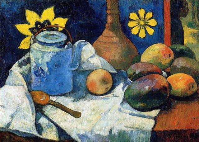 Натюрморт с чайником и фруктами :: Гоген Поль - Paul Gauguin фото