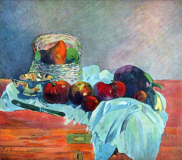 Натюрморт с фруктами, корзиной и ножом :: Гоген Поль - Гоген Поль ( Paul Gauguin ) фото