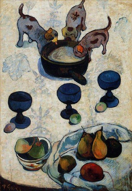 Натюрморт с тремя щенками :: Гоген Поль - Paul Gauguin фото