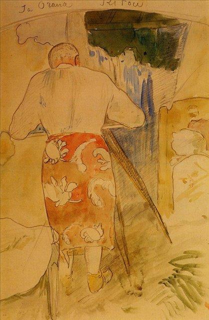 Автопортрет за рисовальной доской на Таити :: Поль Гоген - Гоген Поль ( Paul Gauguin ) фото