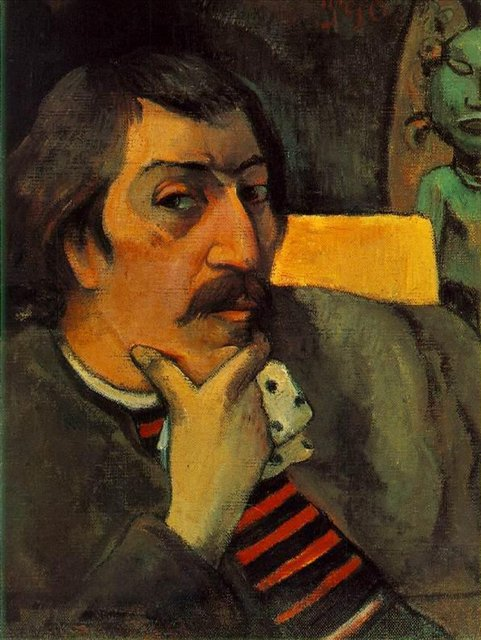 Авто портрет художника с идолом :: Гоген Поль - Гоген Поль ( Paul Gauguin ) фото