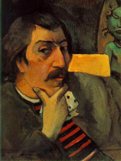 Авто портрет художника с идолом :: Гоген Поль - Paul Gauguin фото