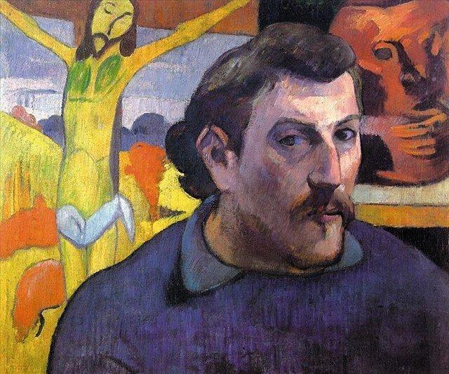 Автопортрет с жёлтым Христом :: Поль Гоген [ живопись постимпрессионизм ] - Paul Gauguin фото
