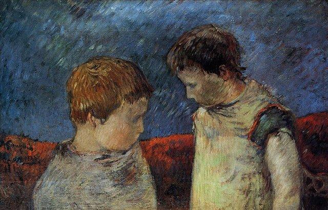 < Алин Гоген и один из её братьев >  :: Поль Гоген [ живопись постимпрессионизм ] - Гоген Поль ( Paul Gauguin ) фото