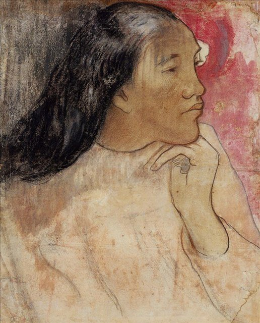 < Таитянка с цветком в волосах >  :: Поль Гоген [ живопись постимпрессионизм ] - Гоген Поль ( Paul Gauguin ) фото