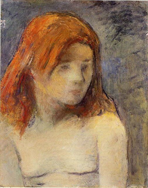 < Бюст обнажённой девушки >  :: Поль Гоген [ живопись постимпрессионизм ] - Гоген Поль ( Paul Gauguin ) фото