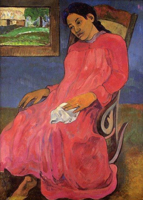< Задумчивая женщина (Меланхолия) >  :: Поль Гоген [ живопись постимпрессионизм ] - Paul Gauguin фото