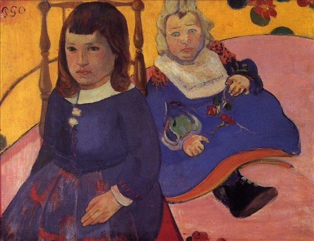 < Портрет двух детей (Поль и Жан Шуффенекеры)  >  :: Поль Гоген [ живопись постимпрессионизм ] - Paul Gauguin фото